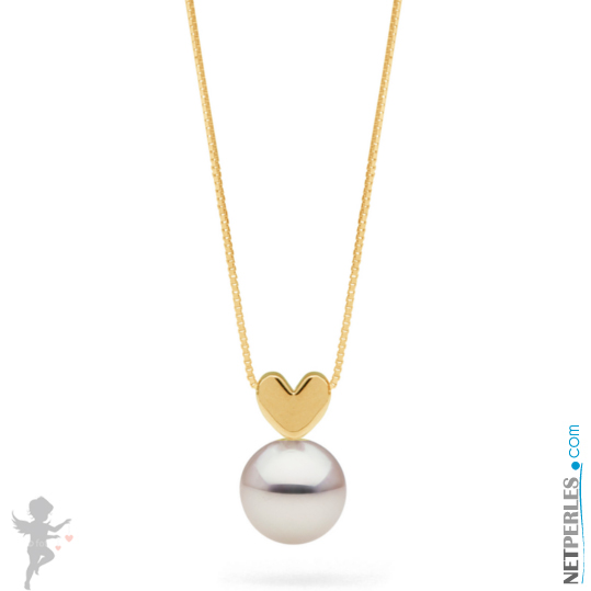 Pendentif coeur en Or jaune 14 carats avec sa perle de culture Akoya blanche qualité AAA