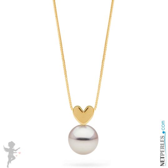 Pendentif coeur en or jaune 14 carats avec perle blanche d'eau douce qualité AAA