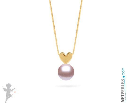 Pendentif coeur en Or jaune 14 carats et perle blanche d'eau douce qualité AAA