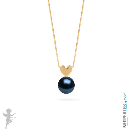 Pendentif coeur en Or jaune 14 carats et perle noire akoya qualite AAA
