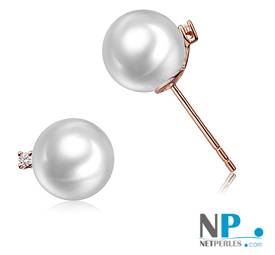 Boucles d'oreilles en or rose 18 carats  avec Perles d'Eau Douce 8-9 mm AAA et diamants