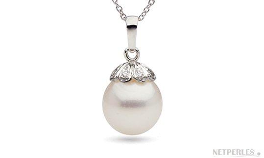 Pendentif en Or 14 carats avec perle de culture d'Australie et diamants