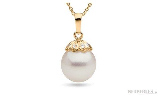 Pendentif en Or 14 carats et diamants avec perle de culture d'Australie et diamants