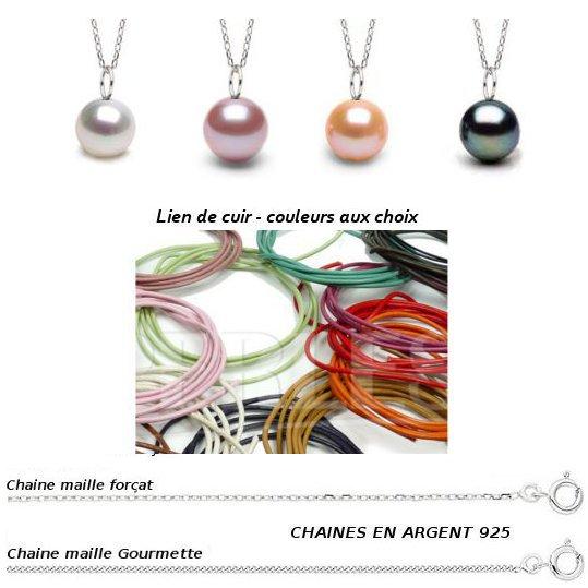 Pendentif Mignon perles de culture d'eau douce blanche pêche lavande et noire