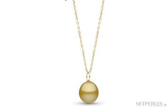 Pendentif avec perle des Philippines dorée en forme de goutte