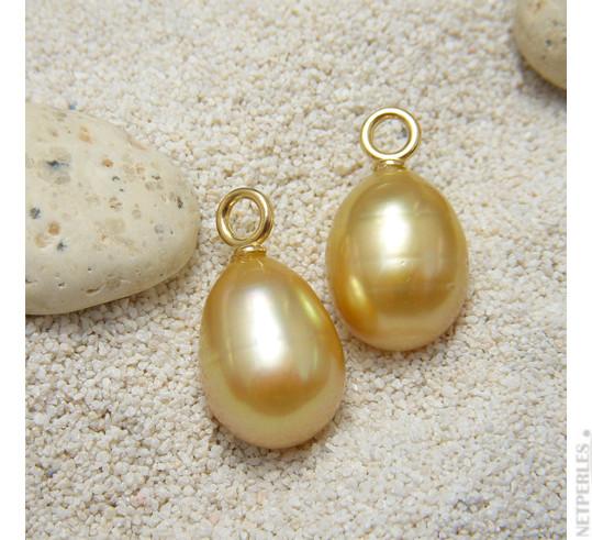 Perles dorées des Philippines en forme Goutte ou Ovale, belle surface lisse et brillante
