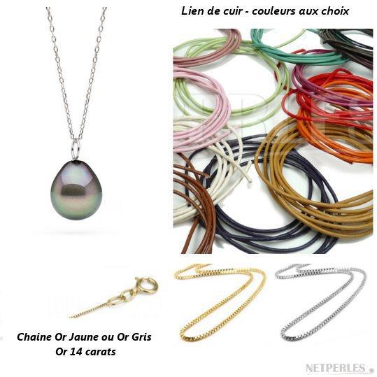 Pendentif en or gris ou or jaune et perle de Tahiti baroque