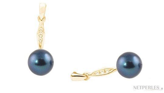 Boucles d'oreilles Or Jaune diamants et perles noires d'Akoya