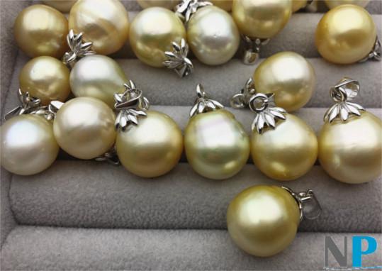 Pendentif en Argent avec perle goutte d'Australie couleur champagne