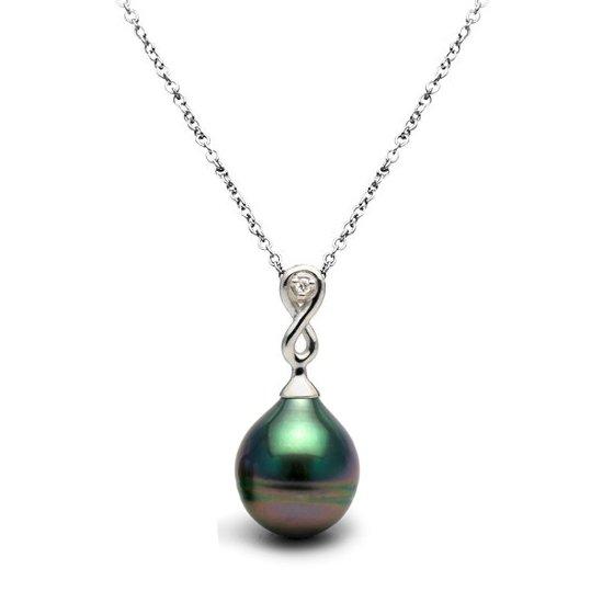 Pendentif en argent avec diamant et perle baroque de Tahiti