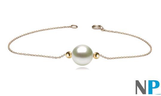 Bracelet chaine or 18 carats traversant une perle d'eau douce DOUCEHADAMA et deux billes en or