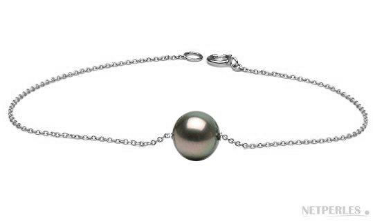 Bracelet sur chaine maille forçat en Argent rhodié  et perle de Tahiti