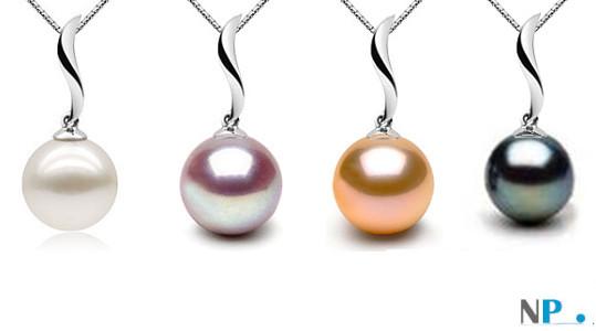Pendentif Nina  présenté avec une perle blanche, une lavande, une rose pêche et une noire