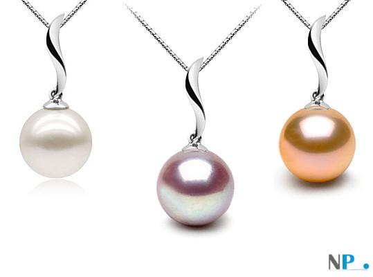 Pendentif Nina présenté avec une perle blanche, une lavande et une rose pêche