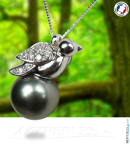 Pendentif Oiseau en Or et diamant avec perle noire de tahiti