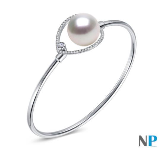 Bracelet en Argent rhodié et perle blanche d'Australie blanche aux reflets argentés