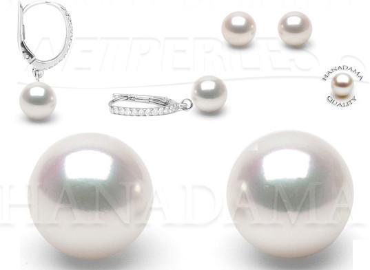 Boucles perles Akoya - perles du japon - perles japonaises - perles blanches - perles hanadama - perles haut de gamme