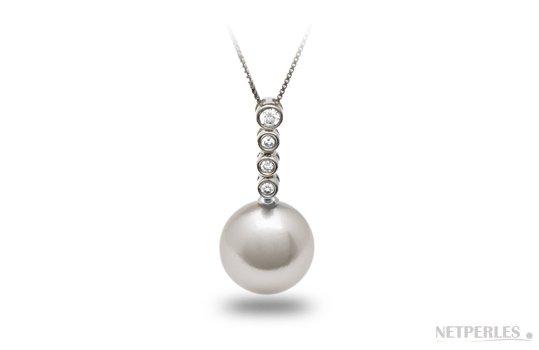 Pendentif Orion Or 18k et diamants avec perle d'Australie blanche argentee
