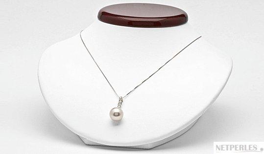 Pendnetif Or 19k et perle d'Australie blanche argentée et diamants