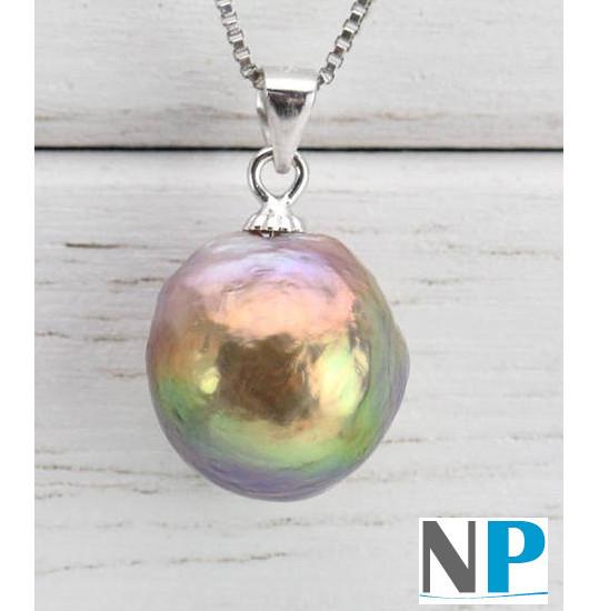 Pendentif en Argent 925 et perle Soufflée d'Eau Douce de grande dimension. Une perle rare!!