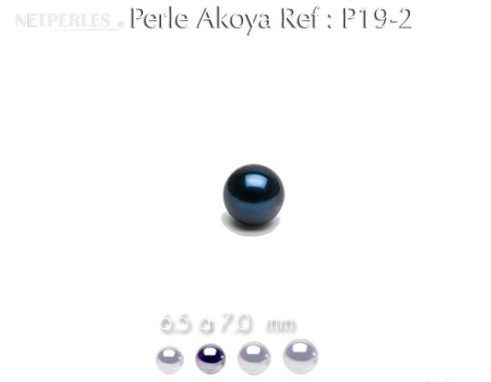 Perle de culture d'Akoya noire de 6,5 à 7,0 mm qualité AA+