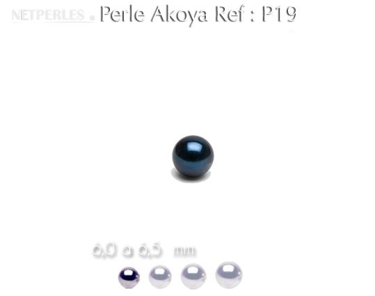 Perle de culture d'akoya noire diamitre 6,0 à 6,5 mm qualité AA+