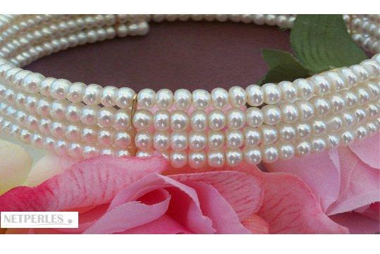 Parure de perles de culture d'eau douce 4 rangs, 5-6 mm AA+