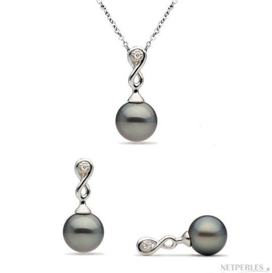 Parure 2 bijoux en Argent 925: Pendentif et Boucles d'oreilles avec diamants et perles de Tahiti