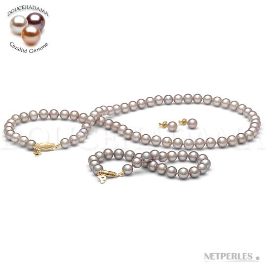 Parure de perles de culture d'Eau Douce qualité DOUCEHADAMA Lavande Parme de 6,5 à 7,0 mm composée d'un collier, d'un bracelet d'un paire de boucles d'oreilles