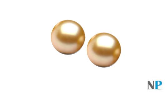 Perles d'Akoya dorées 6,5-7 mm de qualité AAA semi-percées