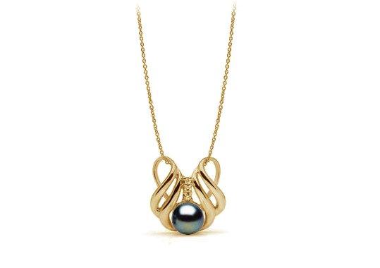 Pendentif en Or Jaune et diamants, avec perle d'eau douce noire