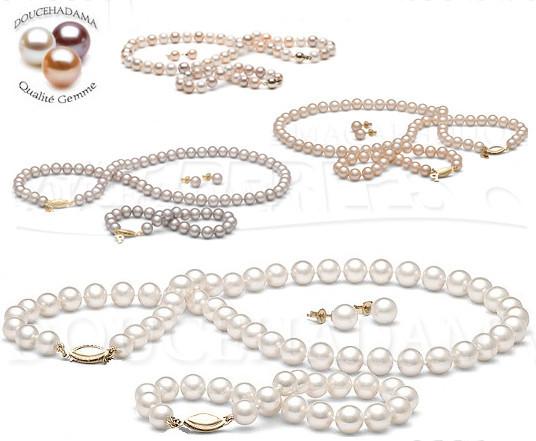Parure de perles d'eau douce qualité DOUCEHADAMA - perles de culture - vraies perles - bijoux de perles - parures 3 bijoux de perles