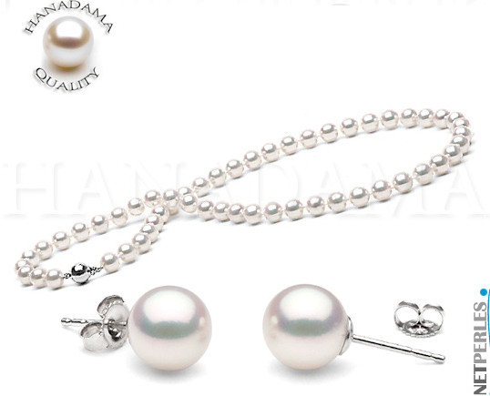 Parure de perles blanches - perles japonaises - perles haut de gamme - vraies perles - perles hanadama