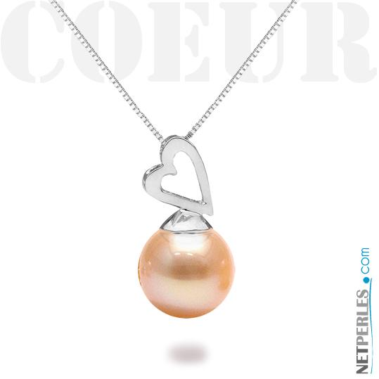 Pendentif Argent 925 avec perle de culture de couleur Pêche naturelle en qualité DOUCEHADAMA