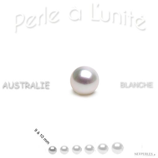 Perle de culture d'Australie blanche argentee de 9 à 10 mm qualité AAA