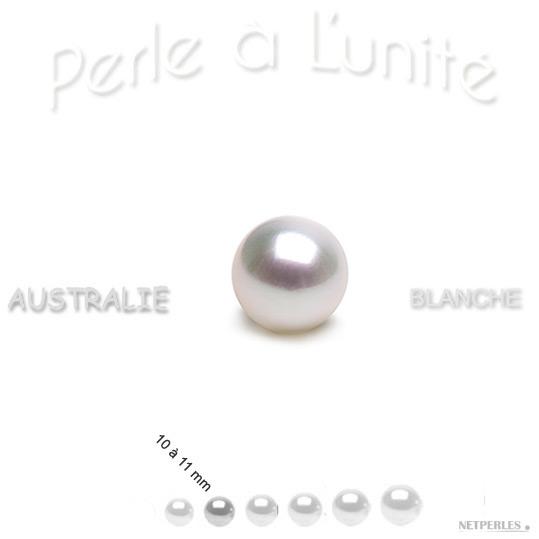Perle de culture d'australie blanche argentee de 10 à 11 mm qualité AAA
