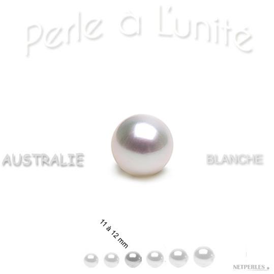 perle de culture d'Australie blanche argenté de 11 à 12 mm qualité  AAA