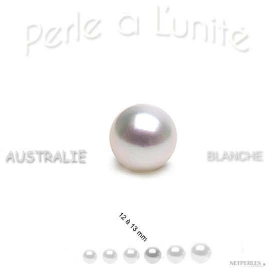 Perle de culture d'australie blanche argentee de 12 à 13 mm qualité AAA