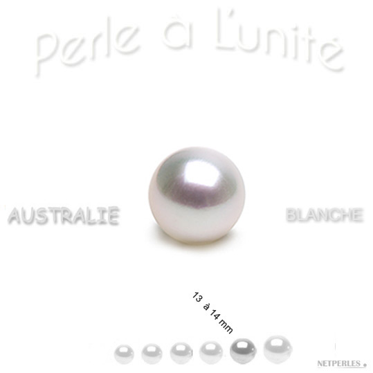 Perle de culture d'Australie blanche argentee de 13 à 14 mm qualité AAA