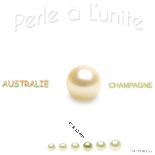 Perle de culture d'Australie champagne de 12 à 13 mm qualité AA+ ou AAA vendue à l'unite