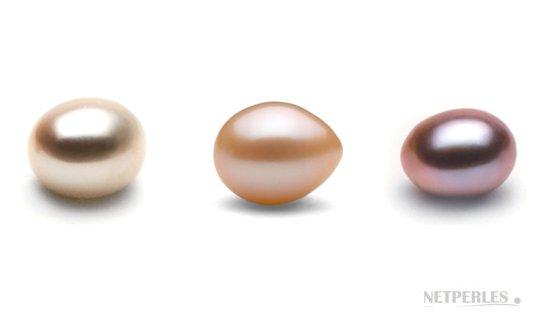 Perles Gouttes d'eau douce multicolores