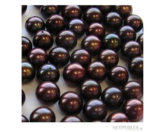 Perles d'eau douce couleur chocolat