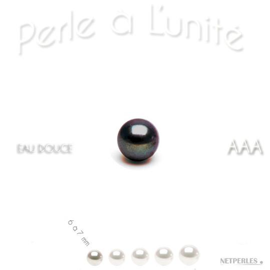 Perle de culture d'Eau Douce noire, de 6 à 7 mm qualité AAA