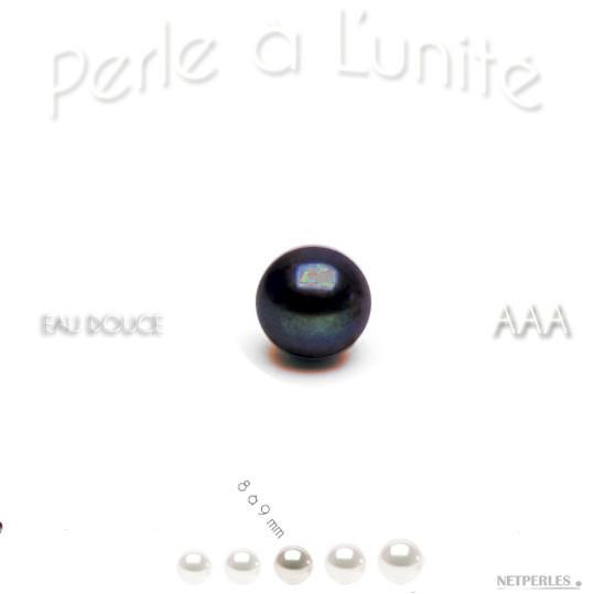 Perle de culture d'Eau Douce noire qualité AAA, bien ronde, diametre 8 à 9 mm