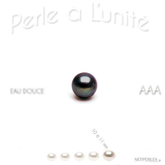 Perle de culture d'eau douce noire de 10 à 11 mm qualité AAA