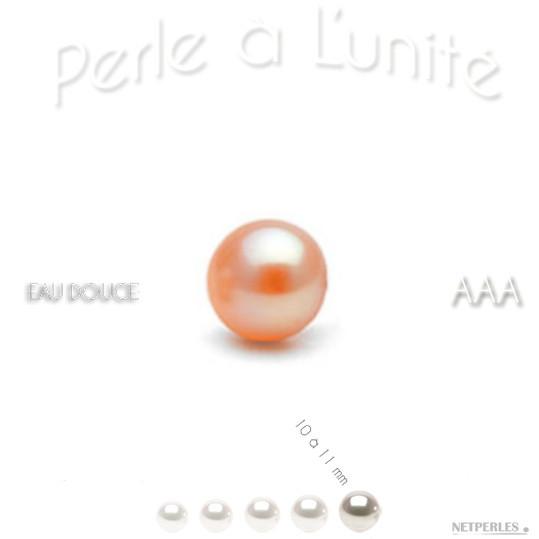 Perle d'eau douce bien ronde qualité AAA couleur peche