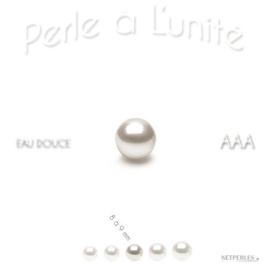 Perle de culture d'Eau Douce blanche de 8 à 9 mm qualité AAA bien ronde