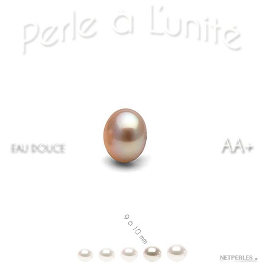 Perle de culture d'eau douce couleur pêche de 9 à 10 mm qualité AA+
