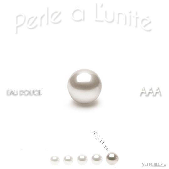 Perle de culture d'eau douce blanche de 10 à 11 mm qualité AAA