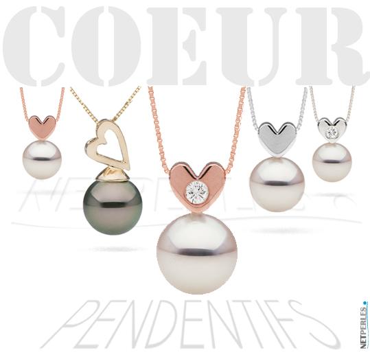 Pendentifs coeur - pendentifs en forme de coeur avec des perles de culture
